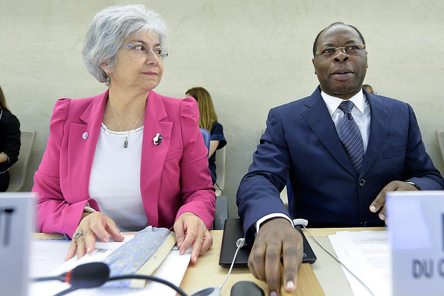 Baudelaire Ndong Ella ( right ) President of the Human Rights Council and Flavia Pansieri ( left ) United Nations, Deputy High Commissioner for Human Rights during special session on Iraq of the Human Rights Council. 1 September 2014.