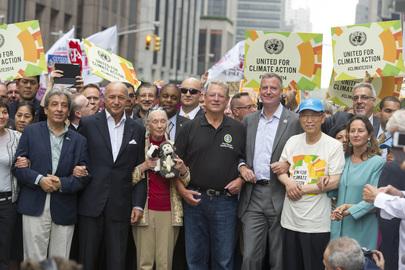 UN Secretary General Ban Ki-moon joins the People's Climate March.Credit:UN Photo/Mark Garten
