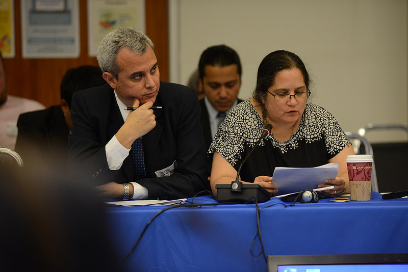 Juan Francisco Soto and Claudia Samayoa appear before the IACHR on the topic of judicial independence in Guatemala.Credit: IACHR