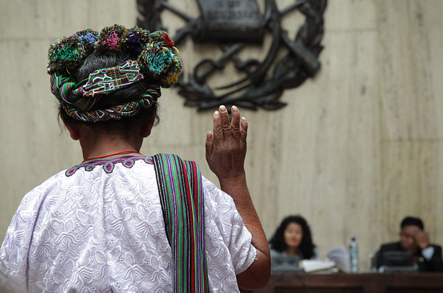 A witness testifies during Rios Montt's first genocide trial.Credit: Elena Hermosa/Trocair