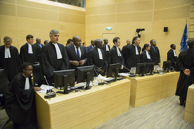 On 29 September 2015, the trial in the case The Prosecutor v. Jean-Pierre Bemba Gombo, Aimé Kilolo Musamba, Jean-Jacques Mangenda Kabongo, Fidèle Babala Wandu and Narcisse Arido opened before Trial Chamber VII at the International Criminal Court (ICC) in The Hague, Netherlands. Jean-Pierre Bemba Gombo, Aimé Kilolo Musamba, Jean-Jacques Mangenda Kabongo, Fidèle Babala Wandu and Narcisse Arido are accused of offences against the administration of justice in connection with witnesses' testimonies in the case of The Prosecutor v. Jean-Pierre Bemba Gombo. Credit: ICC