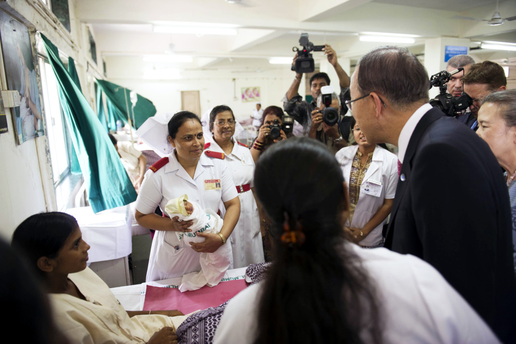 Secretary General Ban Ki-moon visits a maternal health hospital Credit: UN Photo/Mark Garten