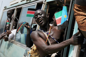 Members of the Sudan Peoples' Liberation Movement (SPLM) arrive at the rally in Juba, as South Sudan prepares for its independence.