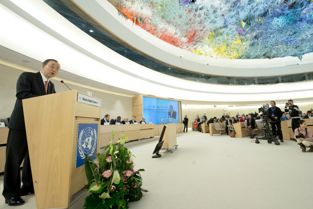Secretary-General Ban Ki-moon at the opening of the Human Rights Council session and the High-level panel discussion on human rights mainstreaming - ÒThe 2030 Agenda for Sustainable Development and human rights, with an emphasis on the right to developmentÓ. 29 February 2016. UN Photo / Jean-Marc FerrŽ