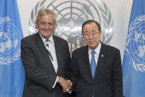Secretary-General Ban Ki-moon (right) meets with Mr. Nicholas Haysom (Special Envoy for Sudan and South Sudan).
