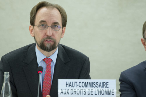 Zeid Ra'ad Zeid Al Hussein, United Nations High Commissioner for Human Rights during of the 30th regular Session at the Human Rights Council. 21 September 2015. UN Photo / Jean-Marc FerrŽ
