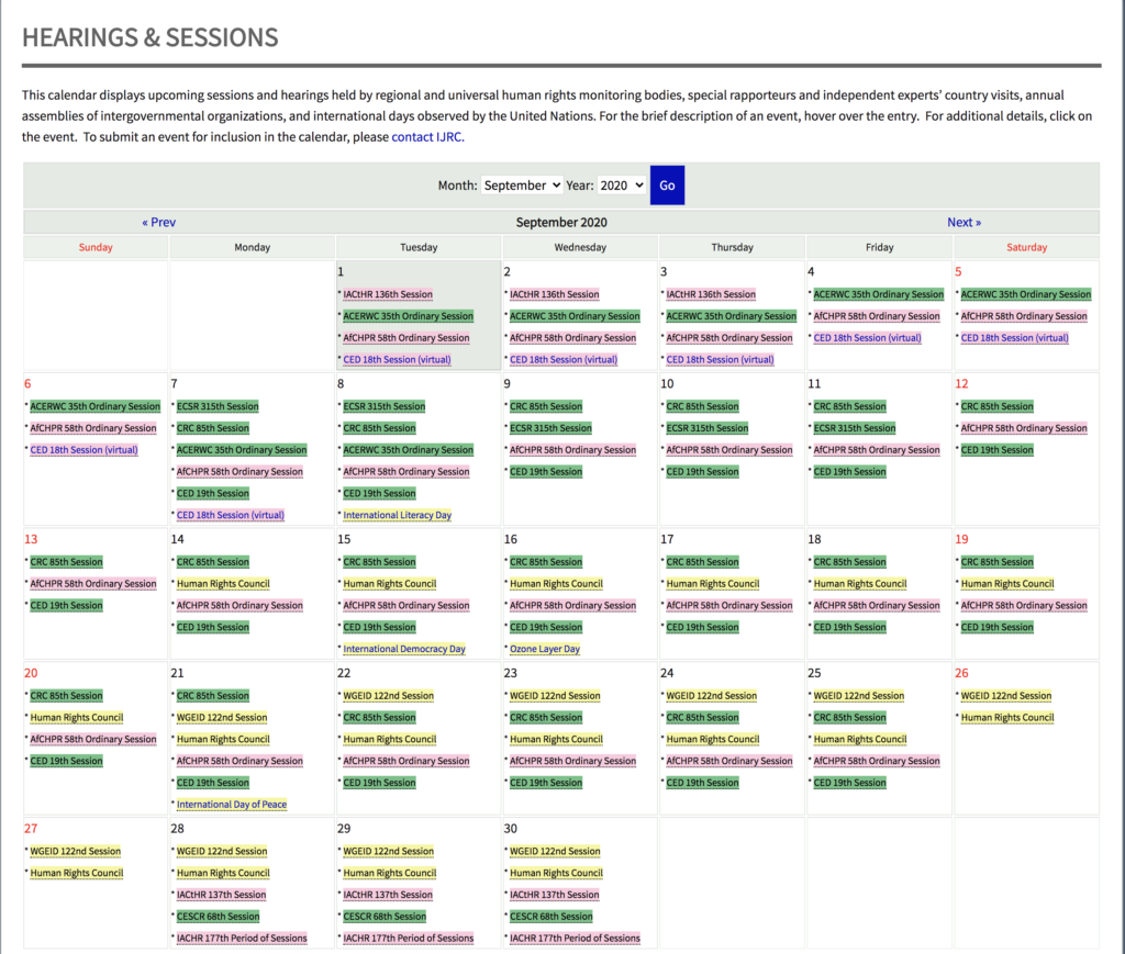 Calendar of human rights bodies' sessions