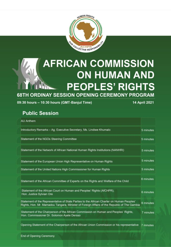 ACHPR session announcement