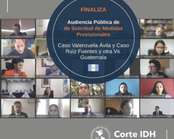 Instagram post from the Inter-American Court of Human Rights showing participants in a virtual hearing.